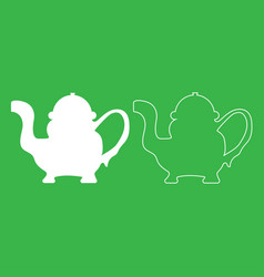 teapot icon white color vector image