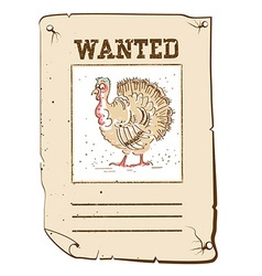 Thanksgiving turkey Wanted poster on western paper vector image