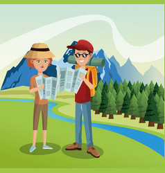Tourist in the mountains vector
