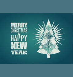 typographical grunge retro christmas card design vector image