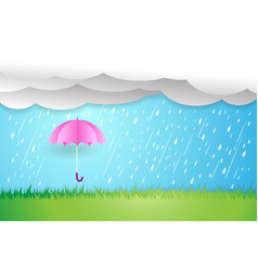 Umbrella in rainy seasonrain cloud vector