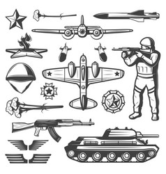 vintage military elements collection vector image