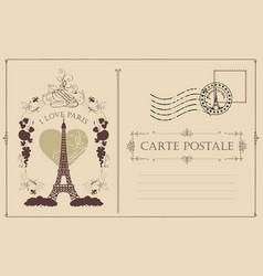 Vintage postcard with the eiffel tower in paris vector