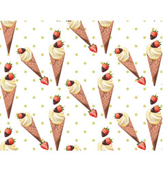 Vintage retro ice cream strawberry pattern dotted vector