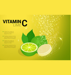 Vitamin c lime soluble pills with lime flavour in vector