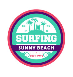 Waves surfing vintage isolated label vector