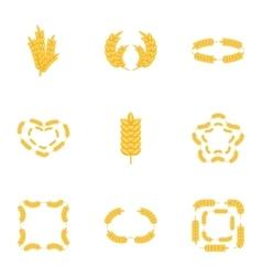 Wheat ear icons set cartoon style vector image