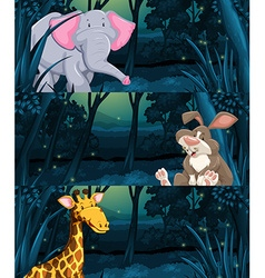 Wild animals in the jungle at night vector
