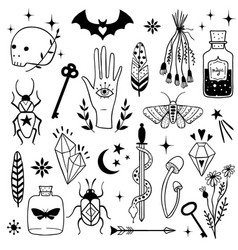 Witch magic design elements set vector