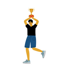 young man holding cup over his head happy vector image