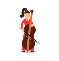 Young woman playing cello cartoon character vector