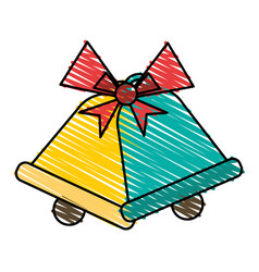 Colorful crayon silhouette of christmas bell with vector