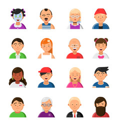 funny cartoon faces avatars in flat style vector image