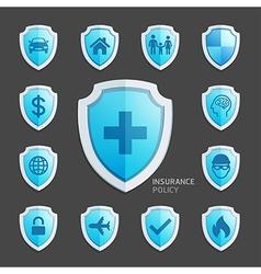 Insurance policy blue shield icon design vector image vector image