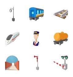 Iron way road icons set cartoon style vector