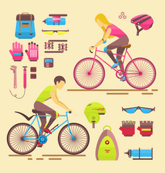 sport bikers girl and boy people on vector image
