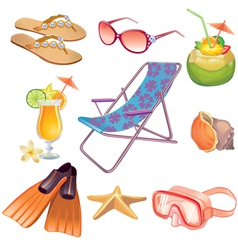 Summer vacation travel icon set vector image