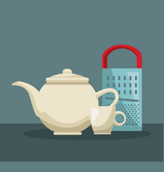 color poster of set teapot and porcelain cup with vector image