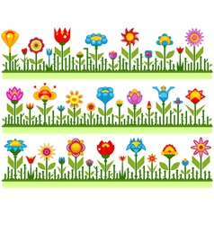 Floral borders with abstract flowers vector image
