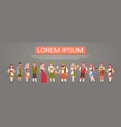 group of people wearing german traditional clothes vector image