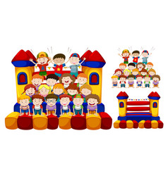 happy children play in the bouncing house vector image vector image