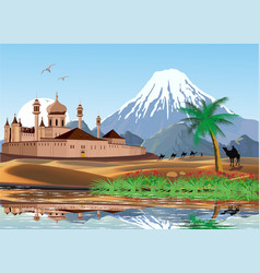 landscape - sunrise over the arab fortress vector image vector image