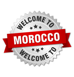 Morocco 3d silver badge with red ribbon vector