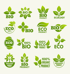 organic eco logos and labels with of vector image