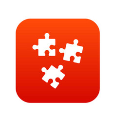 puzzle icon digital red vector image