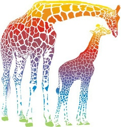 rainbow giraffe mother with cub vector image vector image