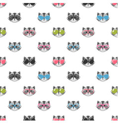 Seamless pattern with raccoons with sunglasses vector