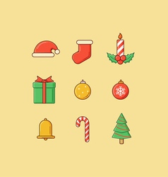 Christmas Icons Flatten vector image