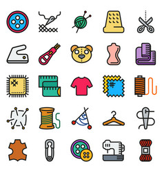 sewing equipment icon set vector image vector image