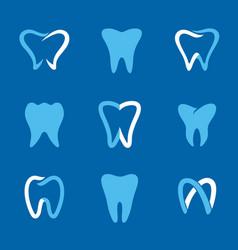 teeth logo blue vector image vector image