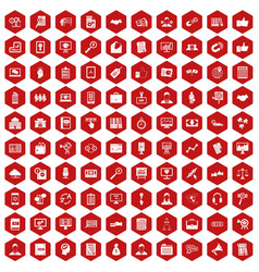 100 business training icons hexagon red vector