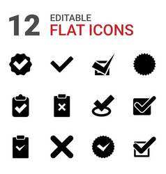 12 correct icons vector