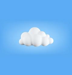 3d soft cotton cartoon cloud isolated on blue vector