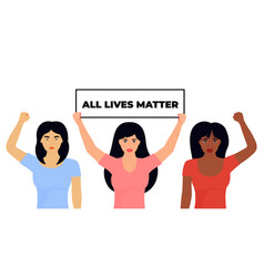 All lives matter african american and asian girl vector