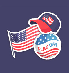 American flag day festival patriotic stickers vector