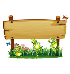 An empty wooden board at the garden with playful vector image