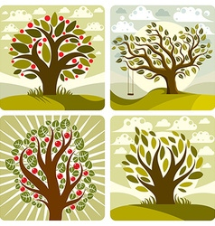 Art green fruity trees with swing on beautiful vector