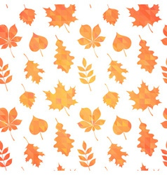 Autumn leaves silhouettes seamless pattern vector image