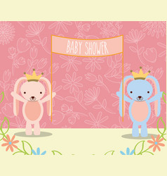 baby shower pink and blue bunnies with placard vector image
