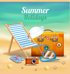 beautiful summer holidays realistic composition vector image