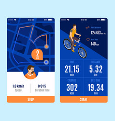 Bicycle mobile app variants vector
