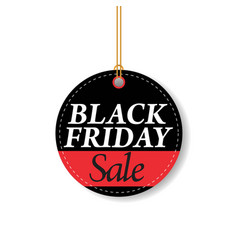 black friday sale black tag round banner vector image