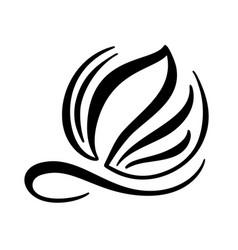 Black ink hand drawn calligraphy logo of leaf vector