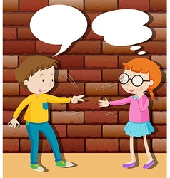 Boy and girl playing rock scissors paper vector
