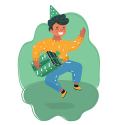 boy in birthday hats happily jumping vector image