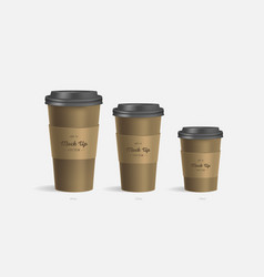 Brown coffee cups mockup on grey background vector